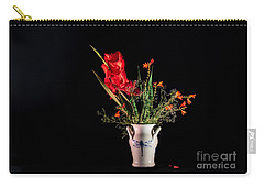 Bouquet In Red Carry-all Pouch by Torbjorn Swenelius
