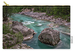 Carry-all Pouch featuring the photograph Boulder In The River - Slovenia by Stuart Litoff