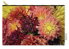 Carry-all Pouch featuring the photograph Bouquet Of Dahlias From The Garden by Ann Jacobson