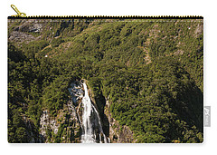 Carry-all Pouch featuring the photograph Bowen Falls Milford Sound by Gary Eason