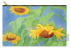 Bowing Sunflowers Colorful Original Painting Carry-all Pouch