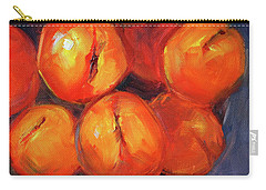 Carry-all Pouch featuring the painting Bowl Of Peaches Still Life by Nancy Merkle
