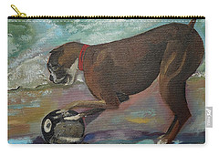 Boxer On Beach Carry-all Pouch by Jan Dappen