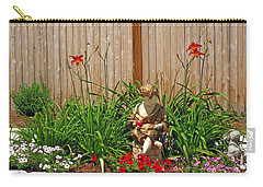 Boy And Dog In Garden Carry-all Pouch