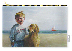 Boy And His Dog At The Beach Carry-all Pouch by Oz Freedgood