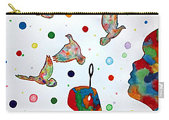 Boy Blowing Soap Bubbles And Doves Carry-all Pouch by Edwin Alverio