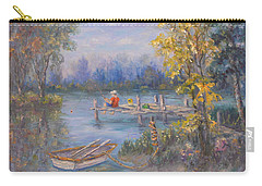 Boy Fishing On Dock And Boat On Lake Carry-all Pouch
