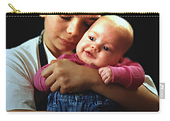 Carry-all Pouch featuring the photograph Boy With Bald-headed Baby by RC deWinter