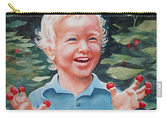 Boy With Raspberries Carry-all Pouch by Marilyn Jacobson