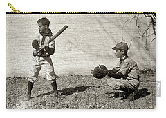 Carry-all Pouch featuring the painting Boys Playing Baseball by Artistic Panda