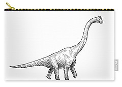 Brachiosaurus Black And White Dinosaur Drawing  Carry-all Pouch by Karen Whitworth