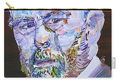 Carry-all Pouch featuring the painting Bram Stoker - Oil Portrait by Fabrizio Cassetta