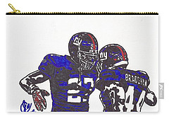 Carry-all Pouch featuring the drawing Brandon Jacobs And Ahmad Bradshaw by Jeremiah Colley