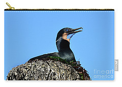 Carry-all Pouch featuring the photograph Brandt's Cormorant Sitting On Her Nest by Susan Wiedmann