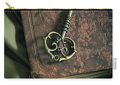 Brass Ornamented Key On Old Brown Book Carry-all Pouch