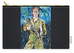 Carry-all Pouch featuring the painting Bravado, An Israeli Woman Soldier by Esther Newman-Cohen