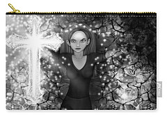 Breaking Through Darkness - Black And White Fantasy Art Carry-all Pouch