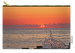 Breaking Wave On The Pier. Carry-all Pouch by Allan Levin