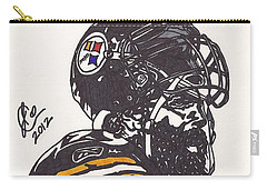 Carry-all Pouch featuring the drawing Brett Keisel by Jeremiah Colley