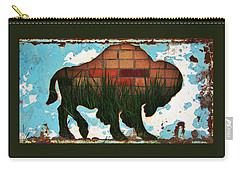 Carry-all Pouch featuring the photograph Red Brick Buffalo by Larry Campbell