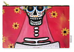 Carry-all Pouch featuring the painting Bridezilla Dia De Los Muertos by Pristine Cartera Turkus