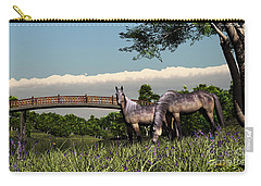 Carry-all Pouch featuring the digital art Bridge And Two Horses by Walter Colvin