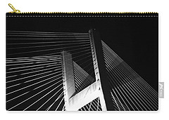 Bridge At Night Black And White Carry-all Pouch