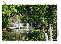 Bridge On Lilly Pond Carry-all Pouch by Lori Mellen-Pagliaro