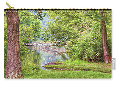 Carry-all Pouch featuring the photograph Bridge Through The Trees - Impasto Style Art by Kerri Farley