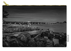 Carry-all Pouch featuring the photograph Bridge To Longboat Key In Bw by Doug Camara
