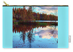 Bright Colors Of Autumn Reflected In The Still Waters Of A Beautiful Forest Lake Carry-all Pouch