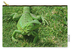 Bright Green Iguana In Grass Carry-all Pouch by DejaVu Designs