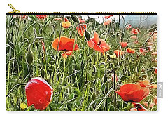 Bright Red Cheery Poppies Carry-all Pouch