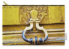Carry-all Pouch featuring the photograph Bright Yellow Door - Paris, France by Melanie Alexandra Price