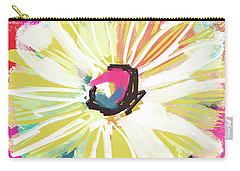 Carry-all Pouch featuring the mixed media Bright Yellow Flower- Art By Linda Woods by Linda Woods
