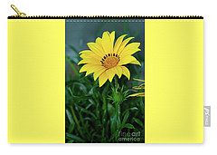 Carry-all Pouch featuring the photograph Bright Yellow Gazania By Kaye Menner by Kaye Menner