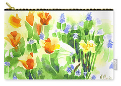 Carry-all Pouch featuring the painting Brightly April Flowers by Kip DeVore