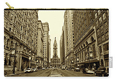 Broad Street Facing Philadelphia City Hall In Sepia Carry-all Pouch by Bill Cannon