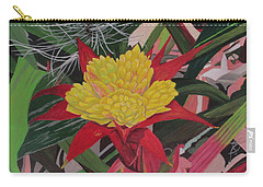 Carry-all Pouch featuring the painting Bromelaid And Airplant by Hilda and Jose Garrancho