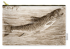 Carry-all Pouch featuring the photograph Brook Trout Going After A Fly by John Stephens