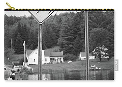 Carry-all Pouch featuring the photograph Brookfield, Vt - Floating Bridge 2 Bw by Frank Romeo