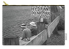 Carry-all Pouch featuring the photograph Brookfield, Vt - Floating Bridge 4 Bw by Frank Romeo