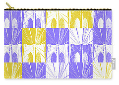 Carry-all Pouch featuring the photograph Brooklyn Bridge In Purple And Gold Square by Marianne Campolongo