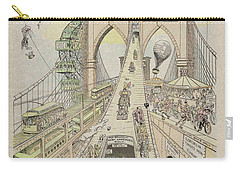 Carry-all Pouch featuring the photograph Brooklyn Bridge Trolley Right Of Way Controversy 1897 by Daniel Hagerman