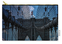 Carry-all Pouch featuring the photograph Brooklyn Bridge Webs by Chris Lord