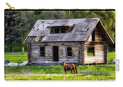 Brown Horse And Old Log Cabin Carry-all Pouch