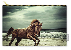 Brown Horse Galloping On The Coastline Carry-all Pouch