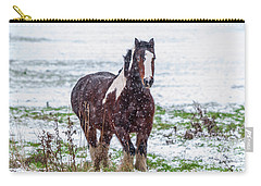 Brown Horse Galloping Through The Snow Carry-all Pouch