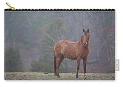 Brown Horse In Fog Carry-all Pouch