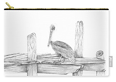 Brown Pelican Carry-all Pouch by Patricia Hiltz